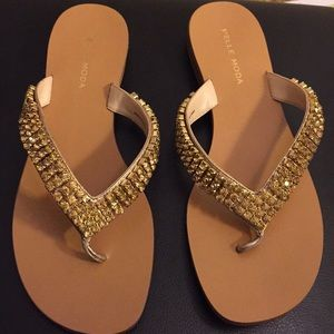 Pelle Mode gold crystal sandals. NWT